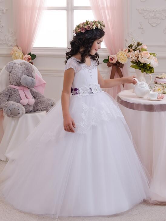 New Arrival 2018 Ball Gown   Flower     Girl     Dresses   Short Sleeves White Communion   Dresses   For Weddings Kids Pageant   Dresses   M2638