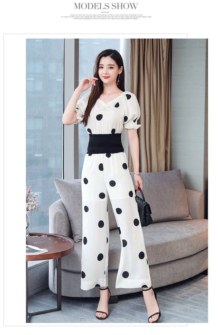 Summer Dot Print Two Piece Sets Outfits Women Plus V-neck Short Tunics Tops And Wide Leg Pants Suits Elegant Ladies 2 Piece Sets 38
