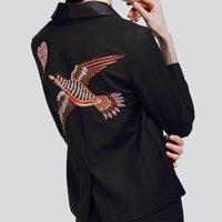 Top Fashion Women S Elegant Designing HIGH QUALITY Luxury Bird Embrpdiery Slim Jacket Black Beading Runway