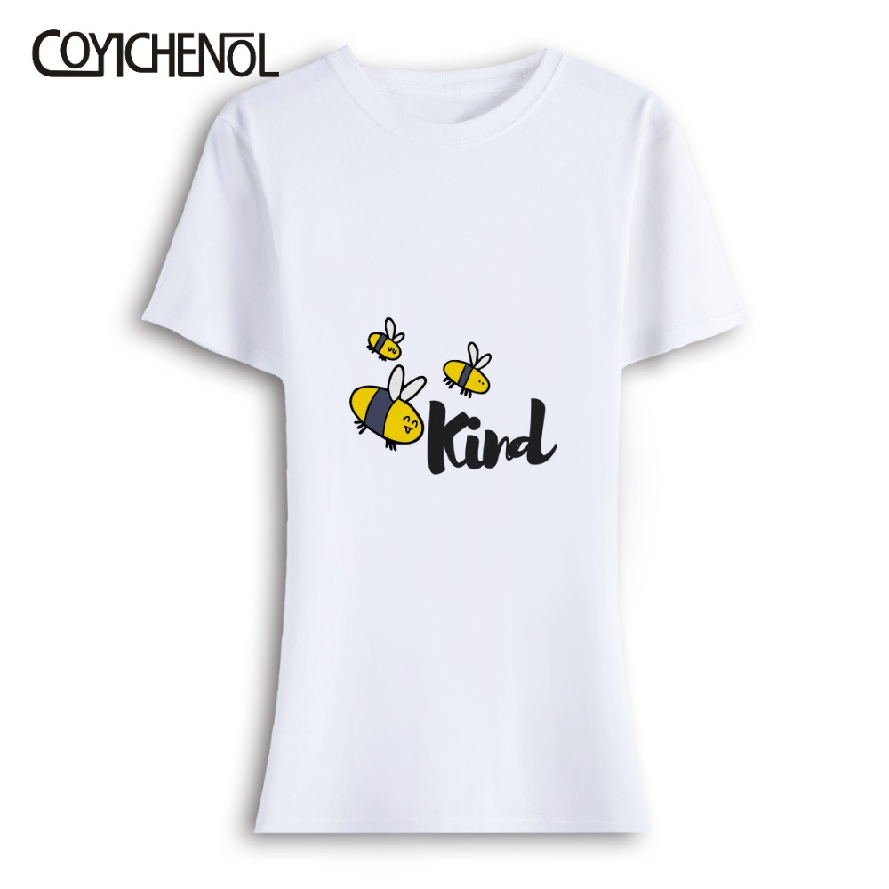 Bee Kind oversize customize print tshirt woman casual short sleeves tops large size solid color top o neck casual regular tshirt in T Shirts from Women 39 s Clothing