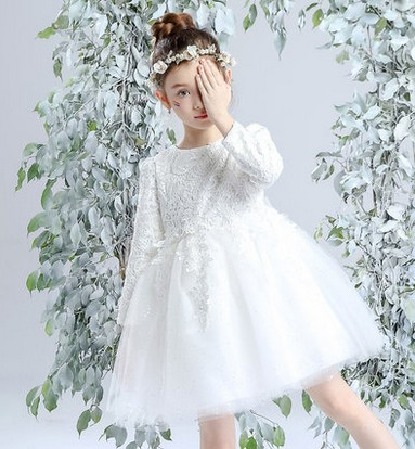 ФОТО  bitter fleabane princess dress girls long sleeved tutu children's wear wedding birthday