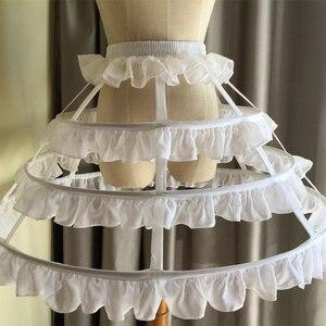 Image 4 - JIERUIZE Lolita สั้นที่ไม่ซ้ำกัน Petticoat บอลชุดคอสเพลย์กระโปรง 3 ห่วง Ruffle Rockabilly Crinoline อุปกรณ์จัดงานแต่งงาน