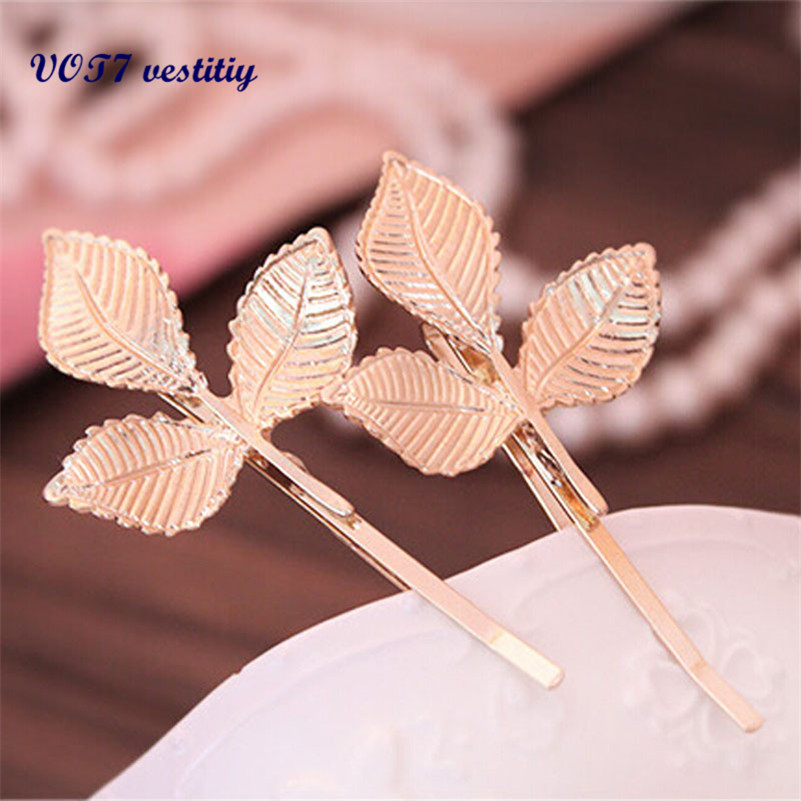 VOT7 vestitiy European Style Hair Accessories Fashion Lovely Leaves Metal Hairpin Beautiful hair clip Oct 12 halloween party zombie skull skeleton hand bone claw hairpin punk hair clip for women girl hair accessories headwear 1 pcs