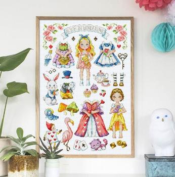 14/16/18/27/28 Counted Cross Stitch Kit Alice in Wonderland Fairy Tale Fairytale Fairyland soda SO-G132 Alice in Wonderland image