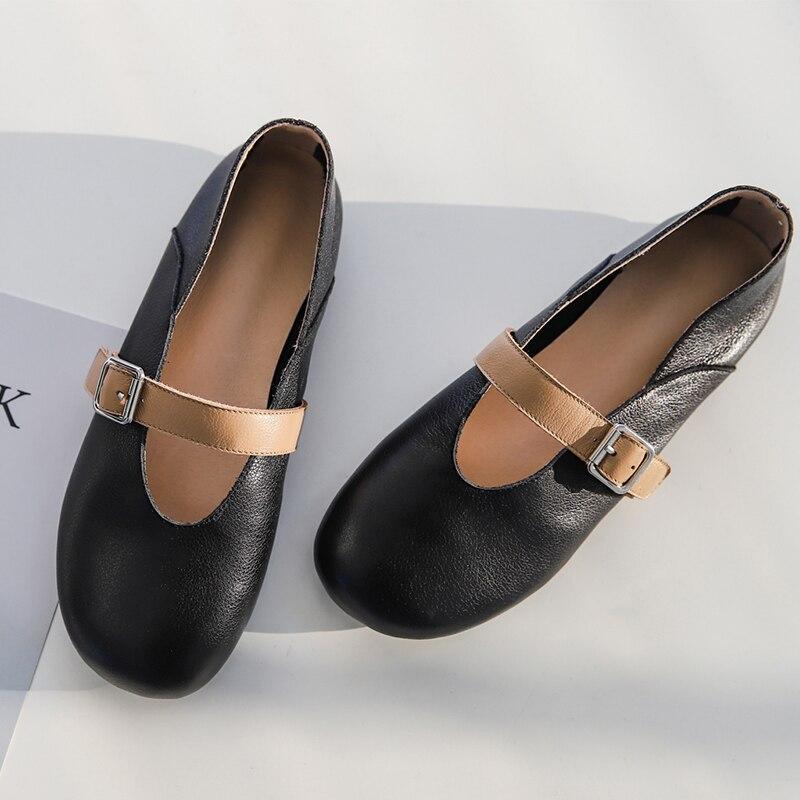 Femmes Doux Designer Black Boucle Espadrilles Appartements Jane Ballerians Marque Mary Cuir Véritable Ballet Chaussures De Confortable Loisirs Métal rS7wrq