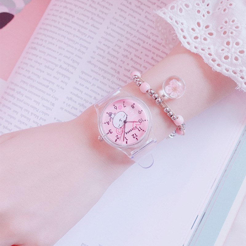 Creative Kids Watches Cute Students Pink Dial Children Wristwatches Cartoon Romantic Girls Jelly Gifts Transparent Montre Enfant