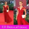 Natalie Portman vestido fora do ombro frisada vestido de baile de celebridades vestido 67º Festival de veneza tapete vermelho
