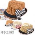 10 шт. взрослые женщины девочки бумага солома мягкие фетровые шляпы шляпа леди лето дерби шляпа кепка пляж шляпа с полоска дутый