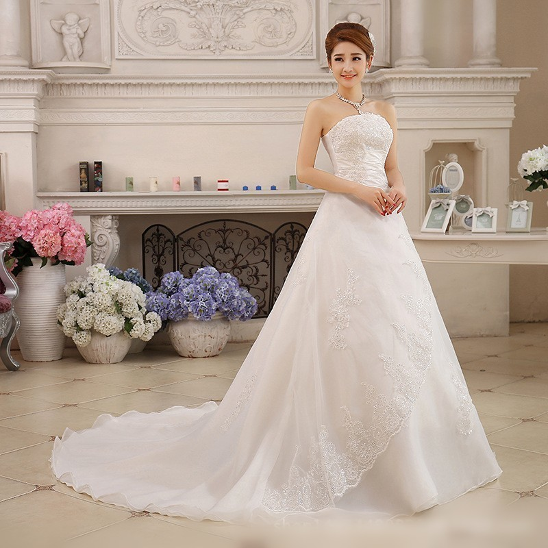 Vestidos De Novia White Wedding Dresses Strapless Ruched Beaded Embroidery Elegant Bride Dresses With Sweep Train Gelinlik 2019