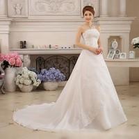 Vestidos De Novia White Wedding Dresses Strapless Ruched Beaded Embroidery Elegant Bride Dresses With Sweep Train Gelinlik 2019