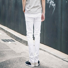 Solid Black White Pencil Jeans Ripped Beggar Jeans With Knee Hole