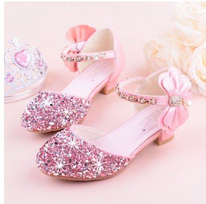 Baby Toddler Girls High Heels Shoes Wedding Formal Princess Pageant Dots Print 3D Floral Party Shoes