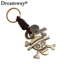 Fashion Bronze Plated Hat Skeleton Pirates One Piece Keychain Handbag Pendant Genuine Leather Braided Key Chains Key Ring Holder
