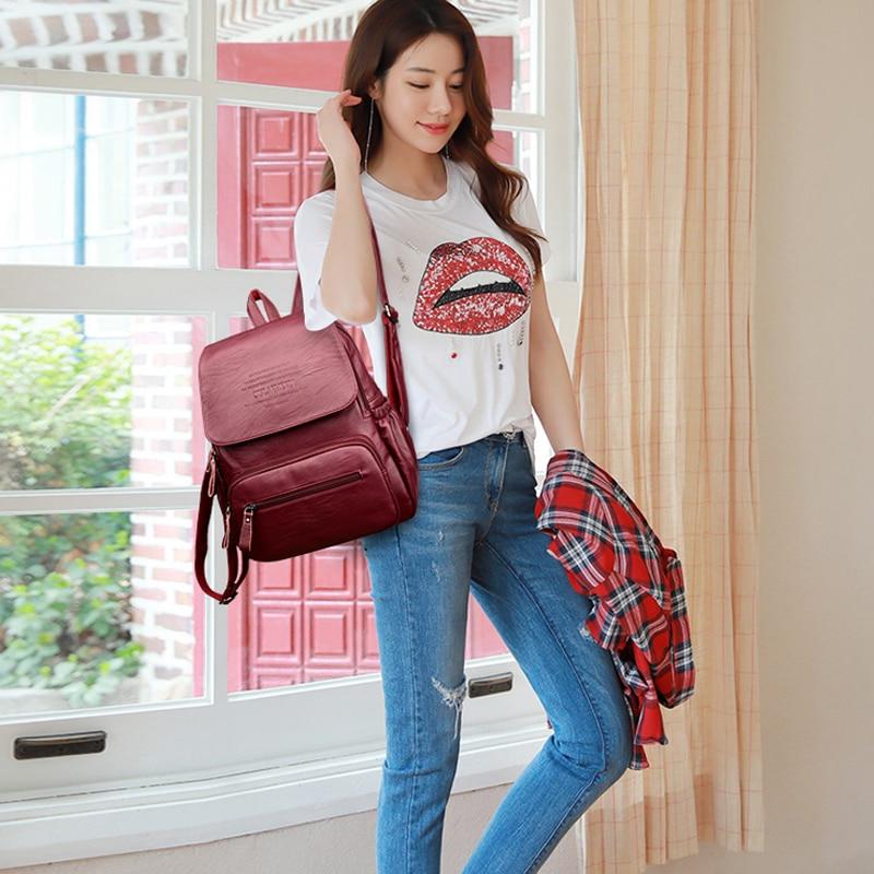 HTB1k5FUfRjTBKNjSZFuq6z0HFXaF 2019 Vintage Leather Backpacks Female Travel Shoulder Bag Mochilas Women Backpack Large Capacity Rucksacks For Girls Dayback New