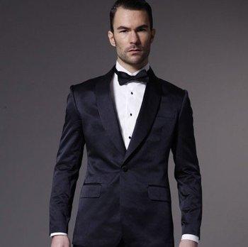Custom Made Mens Suits Groomsmen Shawl Lapel Groom Tuxedos Navy Blue Wedding Best Man Suit (Jacket+Pants+Tie+Hankerchief) A6