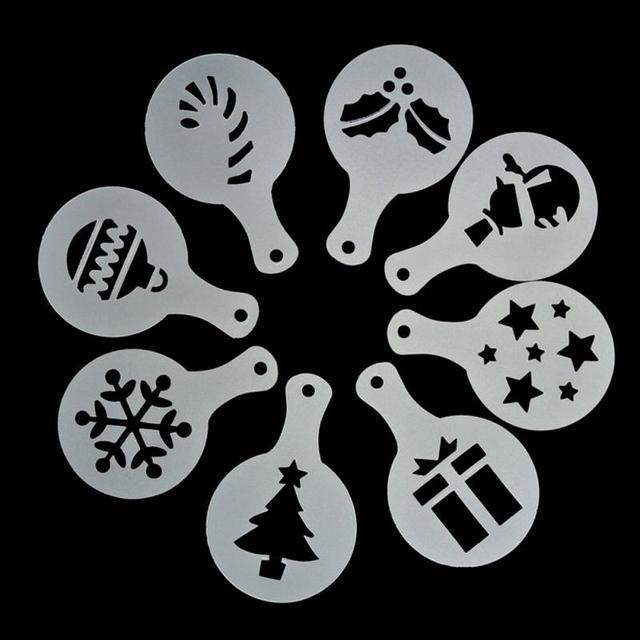8pcs/set Christmas Latte Stencils