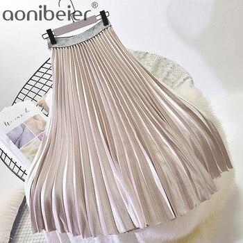 Aonibeier falda metálica Vintage Otoño Invierno alta cintura Midi faldas contraste cintura Casual mujeres plisado faldas multicolor