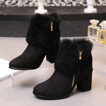 Rabbit Fur Winter Style Female Korean Matte Leather Black Chunky High Heeled Booties Womens Snow Boots