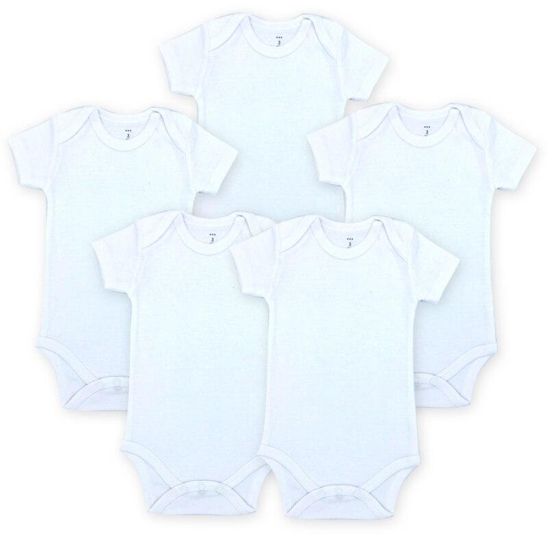 5 Pcs   lot Blanc Bébé Body Blanc Unisexe Nouveau-Né Bébé Vêtements ... d045006ae42