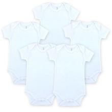 5 stk / lot hvit babybody blank unisex nyfødt baby klær kort ermet sommer klær sett gutt jente klær godta tilpasset