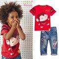 Entrega gratuita 2017 Crianças de Lazer roupas de Verão Dos Desenhos Animados Crianças Meninos define camiseta manga curta + calça jeans conjunto de roupas Menino legal
