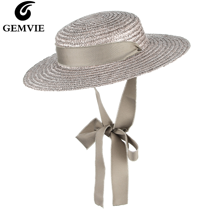 GEMVIE Brim Flat Top Straw Hat Summer Hats For Women Ribbon Beach Cap Boater Fashionable Sun Hat With Chin Strap