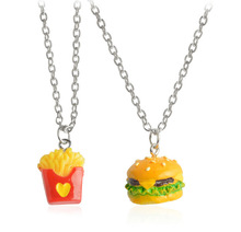 2 Pcs/set  Food hamburger Chips Shape Bff Necklace Best friend Jewelry Friendship Gifts free shipping
