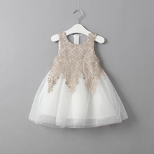 Free shipping New arrival Princess style girls lace voile dress sleeveless ball Gown kids suits lovely girls clothing 2-9T
