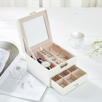 Fashion Women Makeup Organizers Jewelry Earrings Rings Bracelet Necklace Container With Mirror Lock Box Girl Make Up Accessories