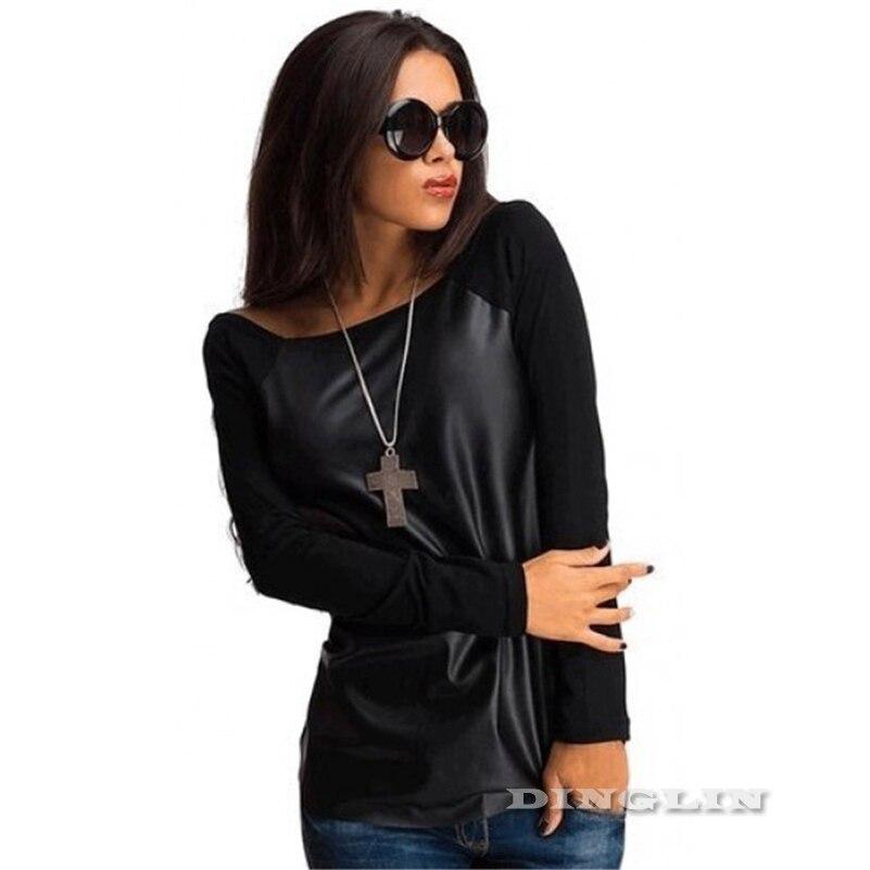 HTB1k5GFLpXXXXb7XpXXq6xXFXXXM - Tops Women Black Long Sleeve Leather T-Shirt Casual