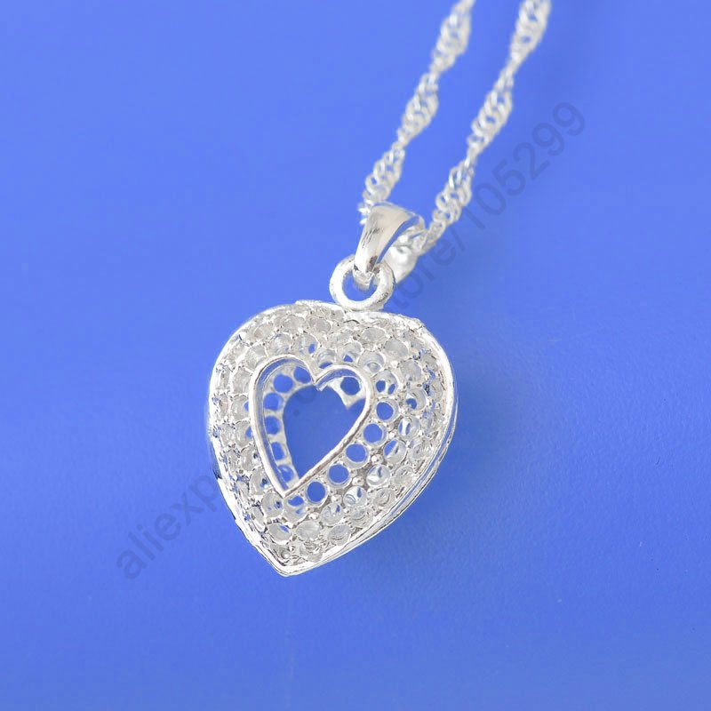 Fast Shipping Wholesale Genuine 925 Sterling Silver Inside New Heart Pendant Necklaces+18