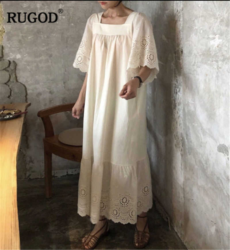 RUGOD 2019 ใหม่มาถึงผู้หญิงเย็บปักถักร้อย Hollow Out ชุดคอ Flare แขนตรงหลวม Vestidos Elegant Dress