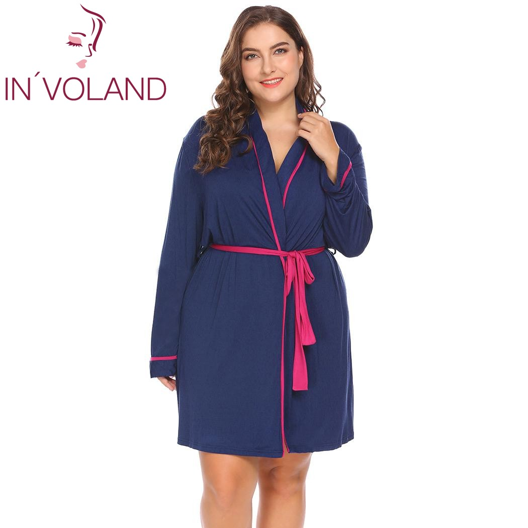 INVOLAND Plus Size XL-4XL Women Sleepwear Robes Soft Hooded Pajamas Lingerie Bathrobe Dr ...