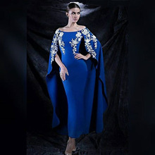 Königsblau Boot-ausschnitt Lange Arabeske Abendkleid 2017 Stretch Satin Weg Von der Schulter Weißen Mermaid Formale Abendkleider kleid