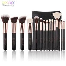 Docolor 15 шт. составляют набор кистей Высокое качество синтетические волосы и козьей шерсти и профессиональный визажист Brush Tool Kit
