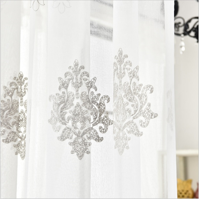 Modern Art Fancy White Voile Tulle Valance Decoration For Living Room Bedroom Balcony Curtain Floral European Pattern Rideaux