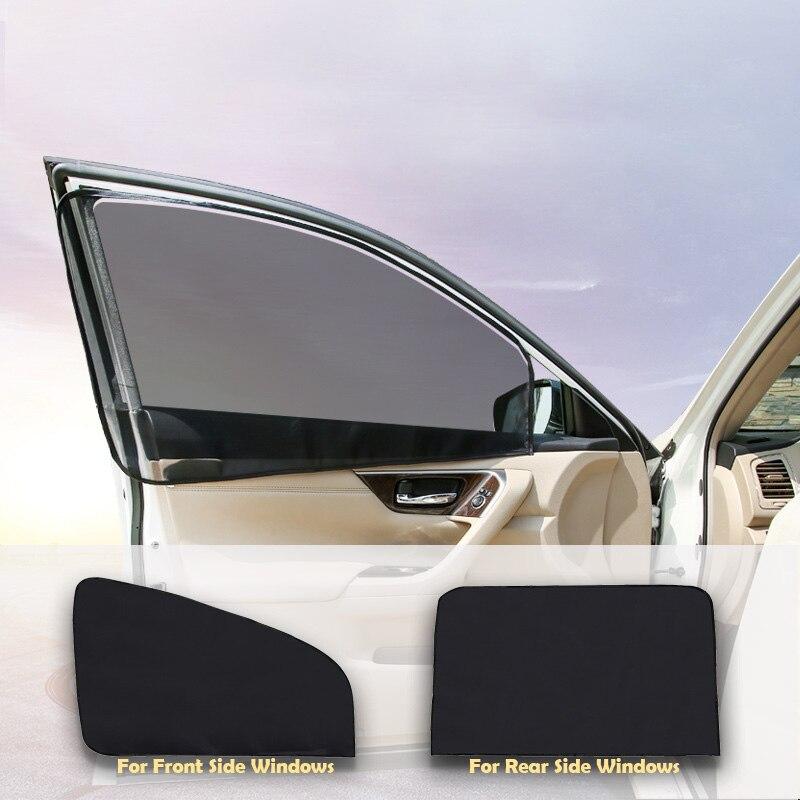 Car Window Mesh Curtain Black Magnetic Type Foldable Car Visor Sunshade UV Protection For Summer