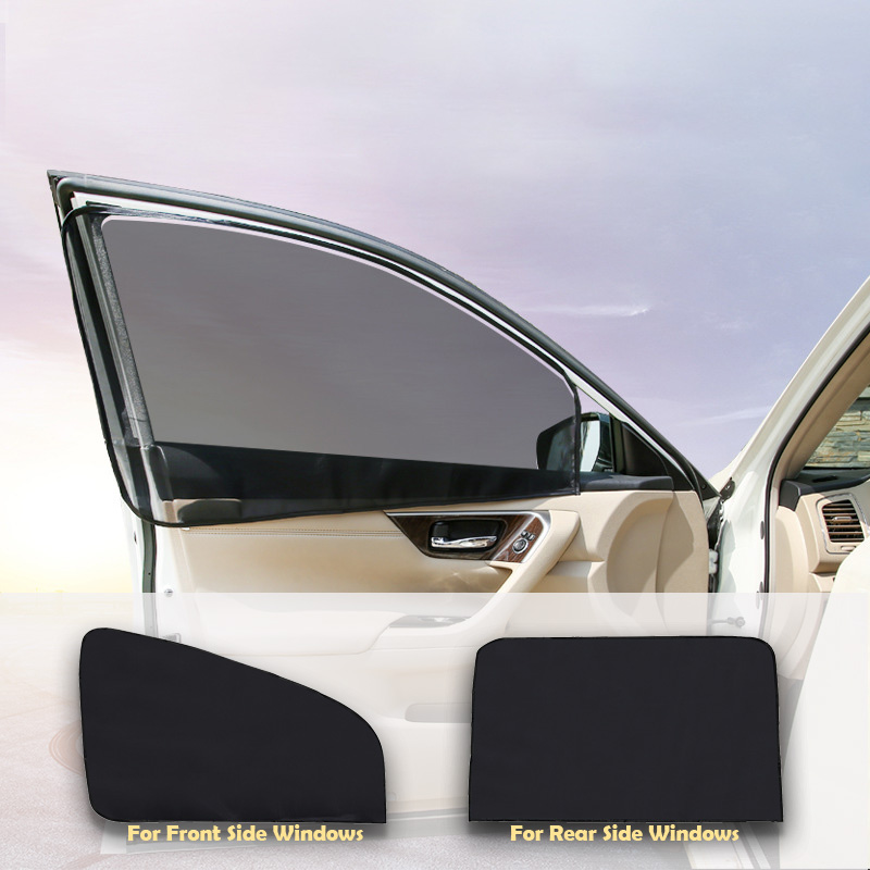 Car Window Mesh Curtain Black Magnetic Type Foldable Car Visor Sunshade UV Protection For Summer