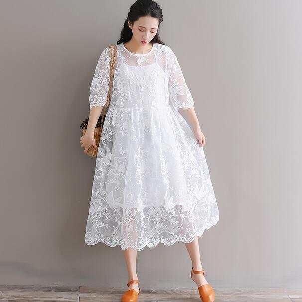 72d474bfdf6e Mori chica verano mujeres Midi blanco vestido cuello redondo bordado Floral  media manga Organza vestido de fiesta de encaje WF265