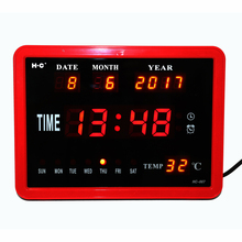 LED Digital Wall Clock Hourly Chime Desktop Watch with Temperature Week Date Electronic Alarm Clocks Digital Calendar Clocks Red