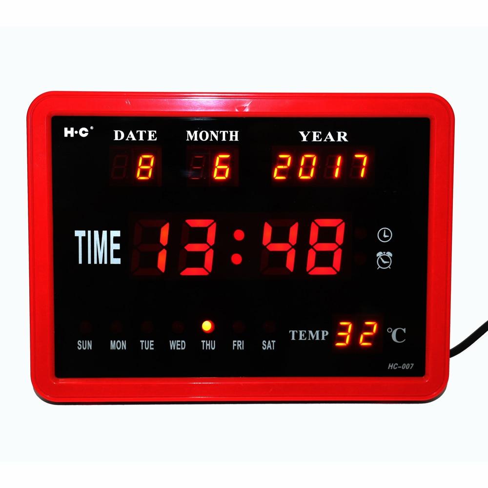 LED Digitale Orologio Da Parete Carillon Orario Desktop Orologio con Temperatura Data Settimana Allarme Elettronico Orologi Orologi Calendario Digitale Rosso
