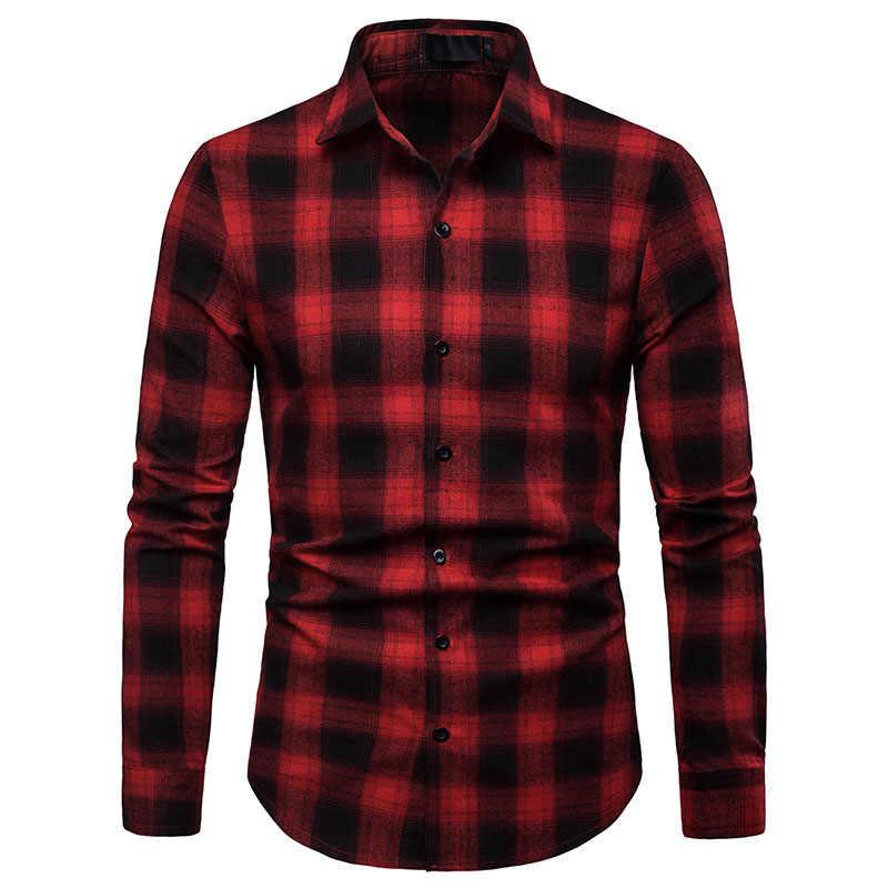 Для мужчин s черное платье в клетку рубашки 2019 Фирменная Новинка приталенная рубашка с длинными рукавами Для мужчин Бизнес Мужская рубашка в стиле кэжуал уличная Camisa Social