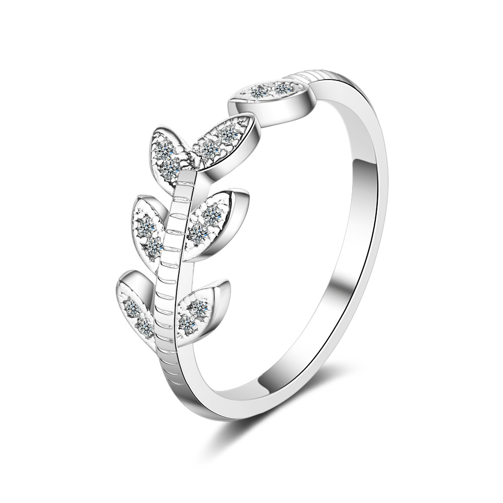 leaves adjustable rings silver jewelry (2)