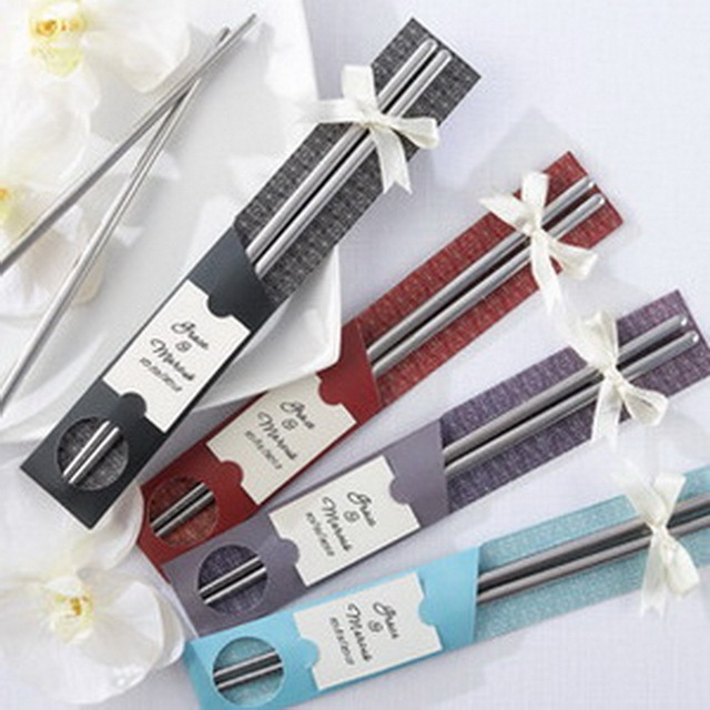 (200pcs=100sets/Lot)FREE SHIPPING+Asian Themed Wedding Favors Chrome Dining Chopsticks Matching Personalized Tag Party Giveaway