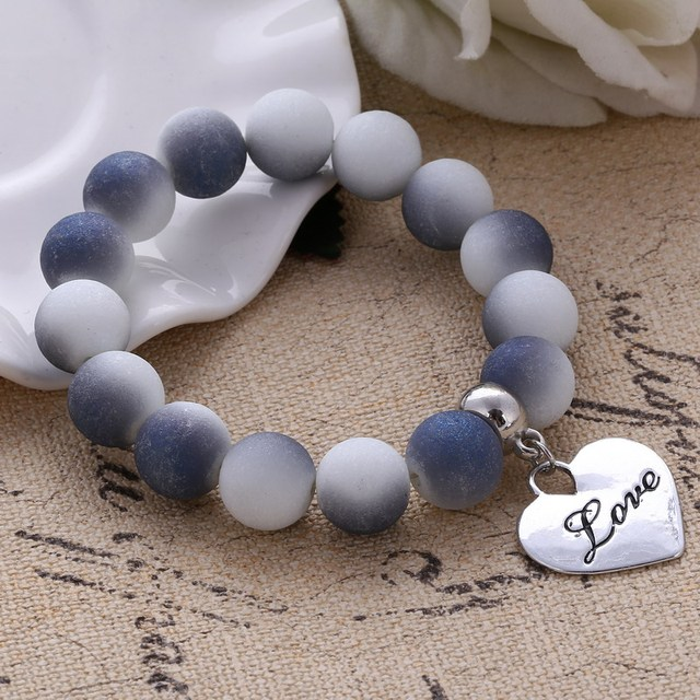 2018 Colorful Beads Charms Bracelets For Women and Men Jewelry Heart Pendant Bra