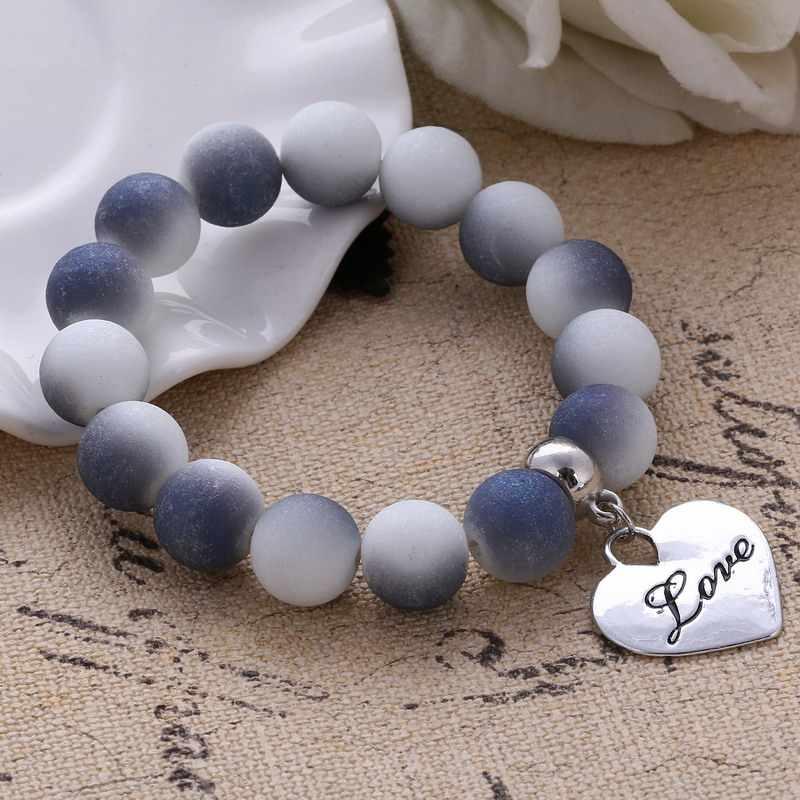 2019 kolorowe wisiorki z koralikami bransoletki dla kobiet i mężczyzn biżuteria bransoletki z wisiorkiem w kształcie serca i bransoletki Pulseras cena hurtowa prezenty