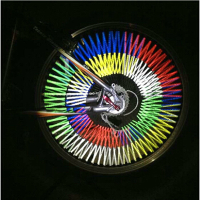 12Pcs Bicycle Mountain Bike Riding Wheel Rim Spoke Mount Clip Tube Warning Light Strip Reflector Reflective Outdoor 75mm (2)