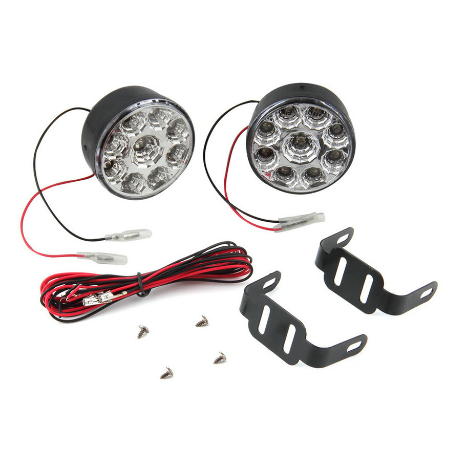2pcs/Pair Universal 9 LED Round Daytime Driving Running Light DRL Car Fog Lamp Headlight For Off-Road Car Truck brand new universal 40 w 6 inch 12 v led car work light daytime running lights combo light off road 4 x 4 truck light