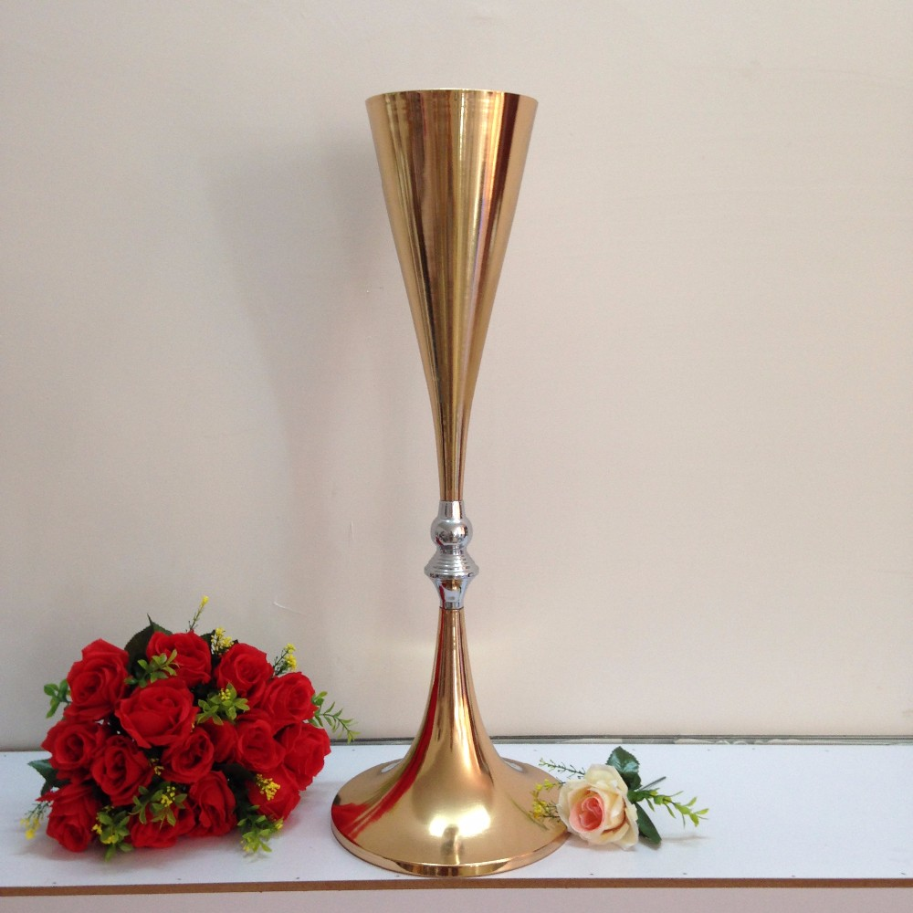 Free shipping gold wedding centerpiece table decor metal flower free shipping gold wedding centerpiece table decor metal flower vase wedding decoration 70cm tall 10pcslot in vases from home garden on aliexpress reviewsmspy