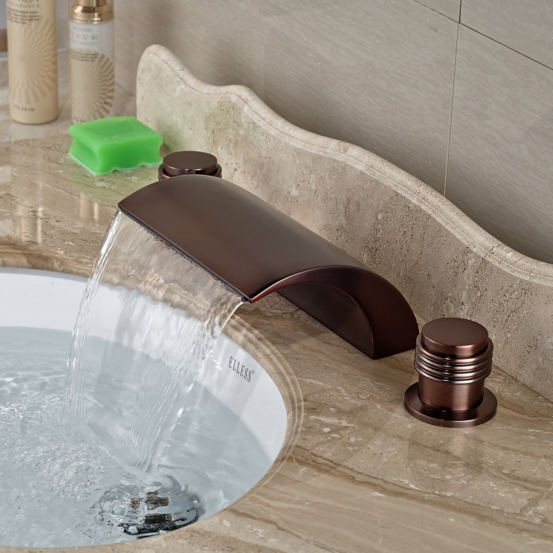 Luxury Widespread 3 Holes Bathroom Waterfall Basin Faucet Dual Handle Oil Rubbed Bronze Finished